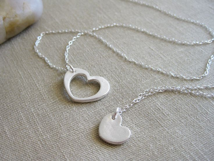 Heart Necklace Set Recycled Silver Sterling Silver Mother Daughter Best Friends Sisters - Heart of My Heart. $76.00, via Etsy.