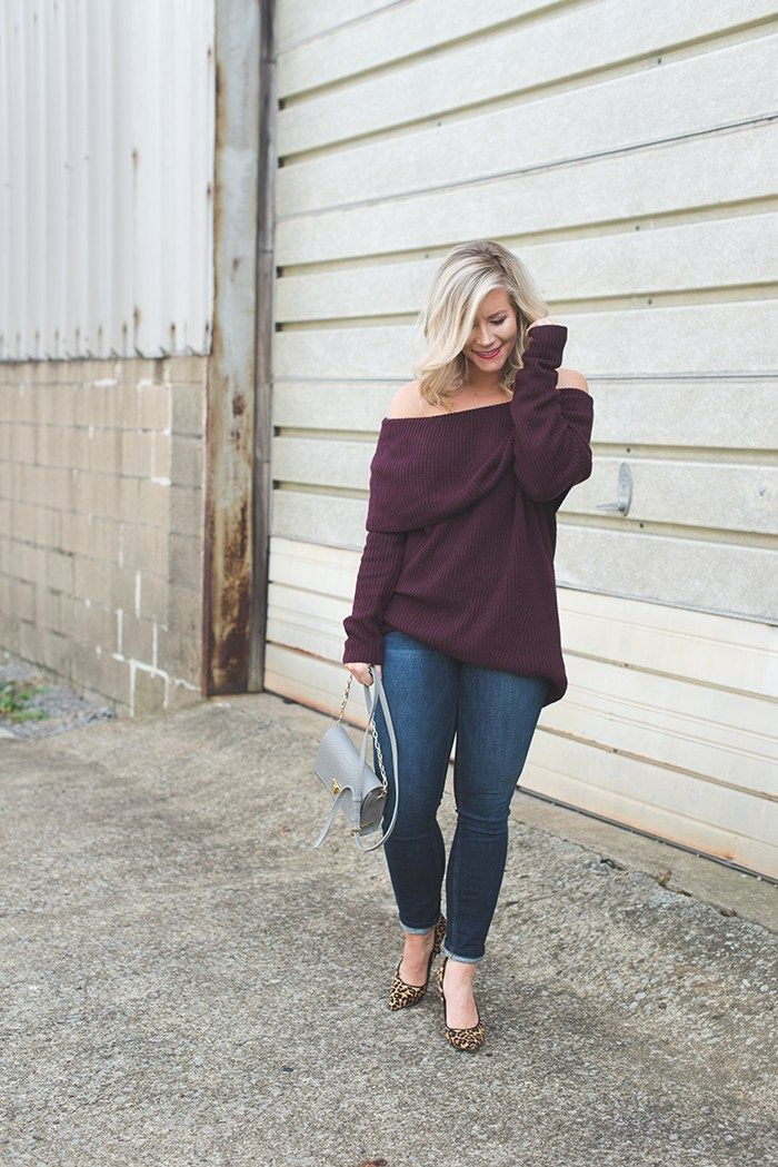 Plum off the shoulder sweater