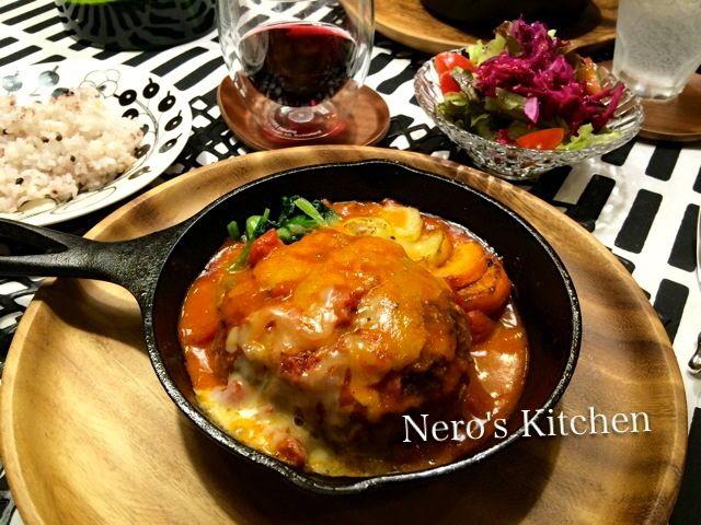 アボカドチーズハンバーグ♪ロッジ・スキレットでジュージュー熱々! |Nero's Kitchenおうちごはん