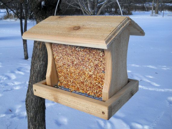 Cedar bird feeder, large hanging bird feeder, wood bird feeder. $21.00