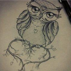 owl drawing - would make a beautiful tattoo