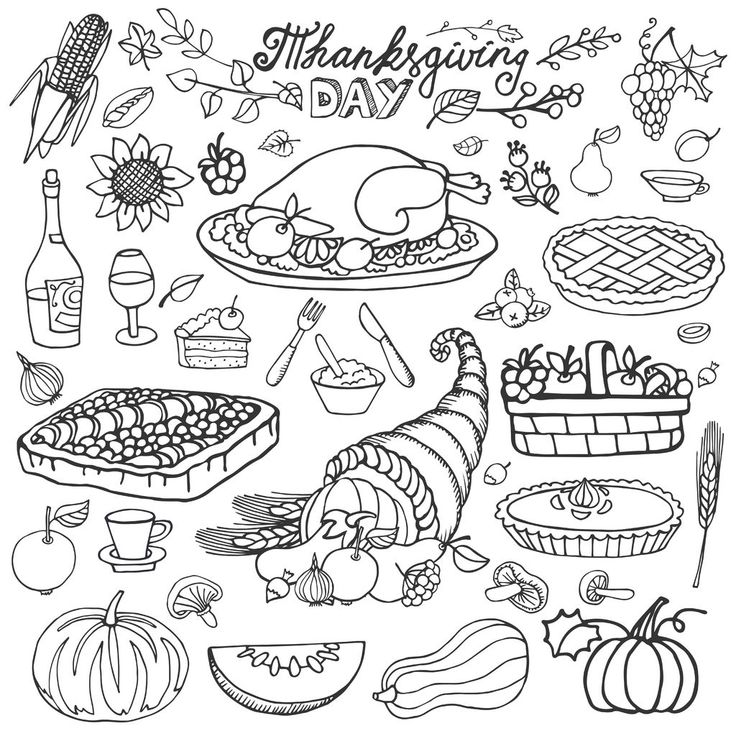 Thanksgiving day icons and cliparts : Harvest Cornucopia, turkey, pumpkin, cakes…