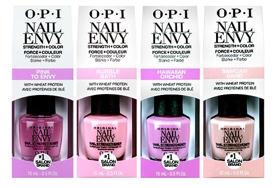 The OPI Nail Envy Strength in Color Collection combines everything you love about Nail Envy with 4 colours, so you get a 2-in-1 effect. More details and pictures on SwatchAndLearn.com.