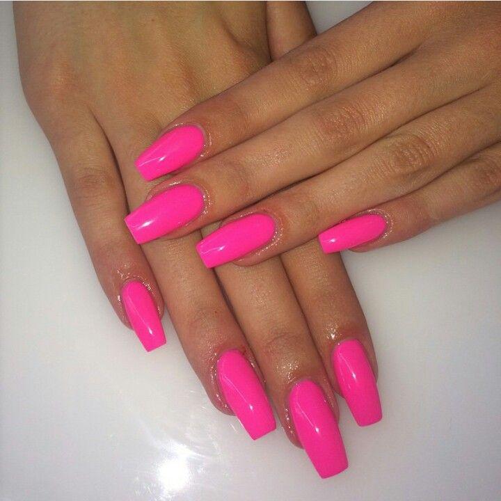 Neon pink nails | Neon acrylic nails, Pink acrylic nails ...