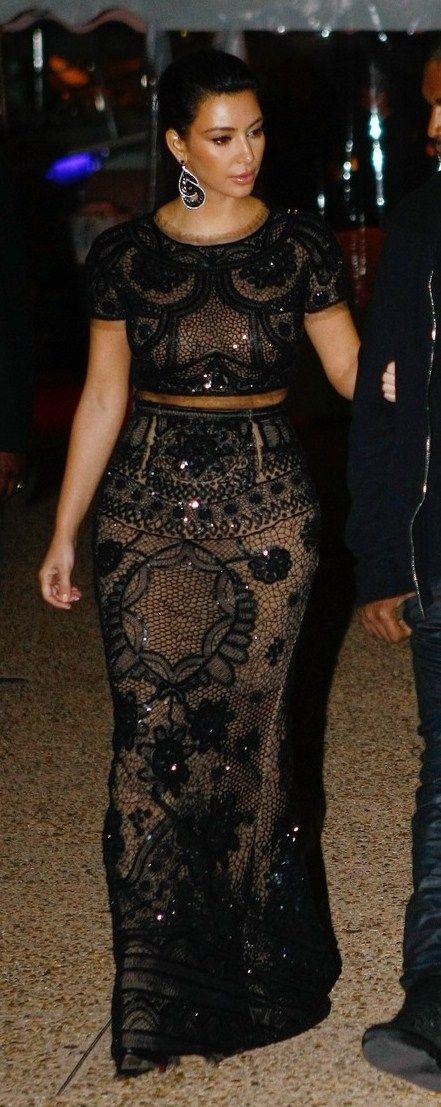 Kim Kardashian Black Lace Detailed Crop Top Amp Matching