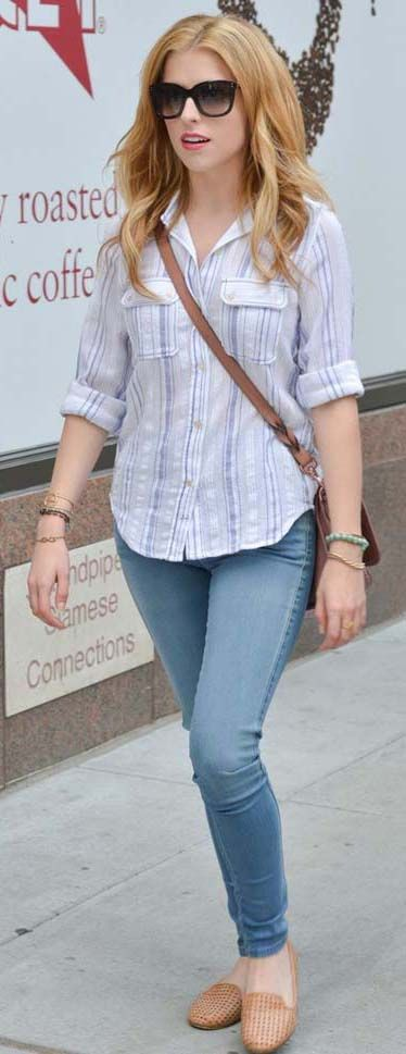 Anna Kendrick skinny blue jeans #trends #style #fashion trends