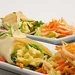Singapore Rice Crepes with Scrambled Eggs and Curried Vegetables