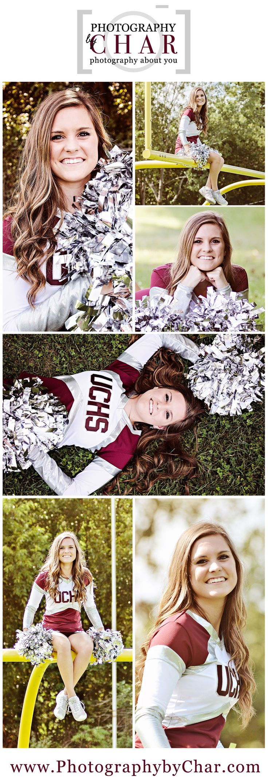 Sports Senior Portraits - Senior Portraits - Sports - High School Sports - Union City- Football - Cheerleading - Football Cheerleaders - Union City Chargers - Male - Female - Posing Ideas - Location Ideas - Props - Southern Michigan