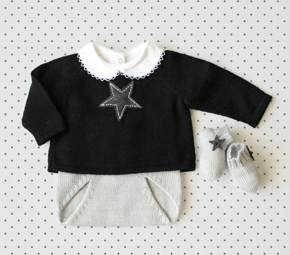 Knit baby set. Sweater diaper cover socks. Black and by tenderblue, $106.00