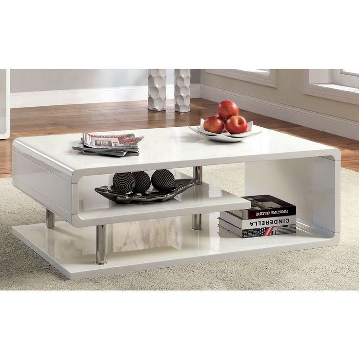 Furniture Of America Rocca Modern Tier Coffee Table   White   A Curvaceous  Beauty, The Furniture Of America Rocca Modern Tier Coffee Table   White  Features ...