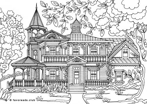 59 best images about adult coloring on pinterest for Mansion coloring pages
