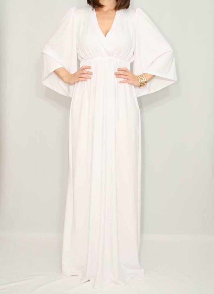 White Maxi dress Kimono dress Maternity Dress by KSclothing, $45.00