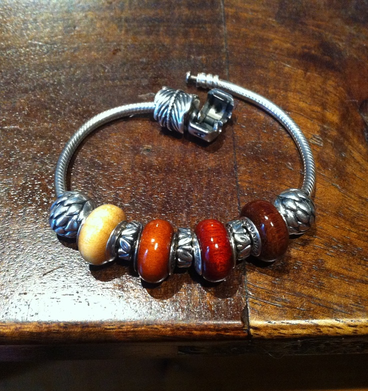 Pandora Charm Bracelet With Wooden Beads, Lotus Flower