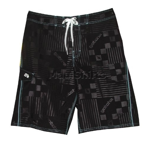 615eec6857 Men's Boardshorts - Gotcha G-Stamp Velcro Fly Side Flat Pocket Mesh Lining  Polyester Swim Trunks in Embossed Black - 30 | Amazon.com