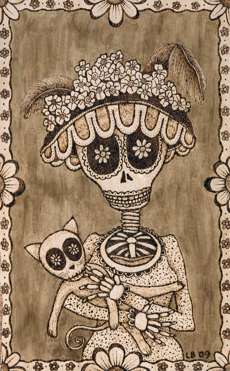 """Day of the Dead Style print of original wood burning, """"Katrina"""""""