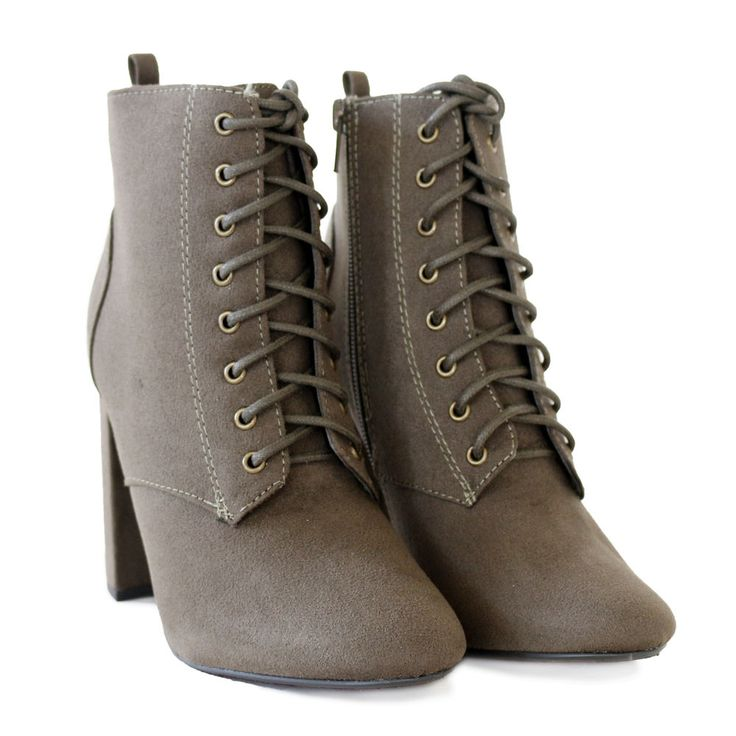 Chic Lace up Suede Ankle Boots Almond Toe Covered Chunky Heel Olive 7