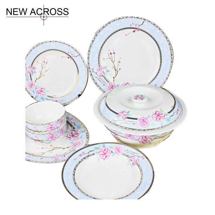 Gohide Diseño Clásico Vajilla de Cerámica de Alta Calidad 56 unids Hueso Juego de Vajilla de Porcelana Tazón Placa Plato(China (Mainland))