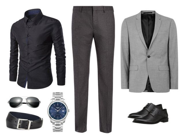 """20. Camisa gris oscuro Pantalón gris oscuro"" by andreamariafernandez on Polyvore featuring Joseph, Topman, Concord, Longines, Prada, men's fashion and menswear"