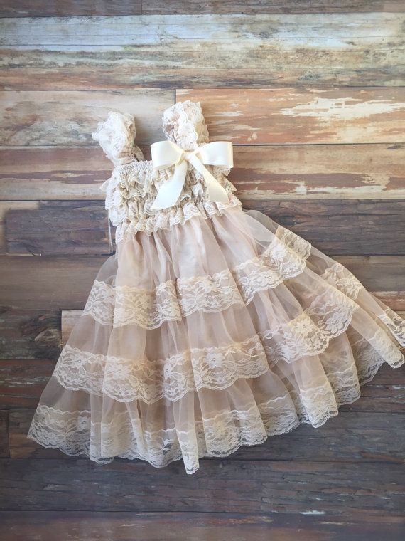 Flower girl dress. Champagne dress. Rustic flower by KadeesKloset