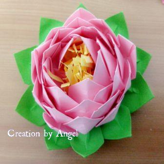 origami sekuntum bunga teratai warna pink