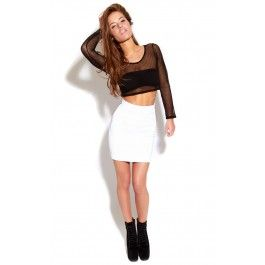 White Quilted Mini Skirt  This textured mini skirt looks great and takes you through to the next season  ♥ Transitional ♥95% Polyester / 5% Elastane