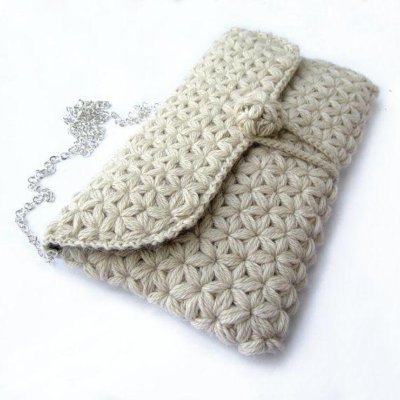 Crochet clutch bagwool clutch bagelegant clutch by GiadaCortellini