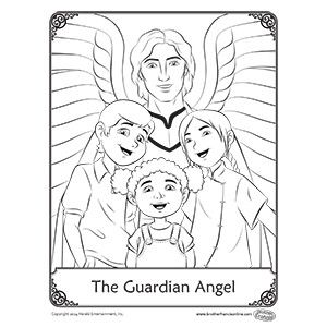Guardian angels coloring and angel on pinterest for Guardian angel prayer coloring page