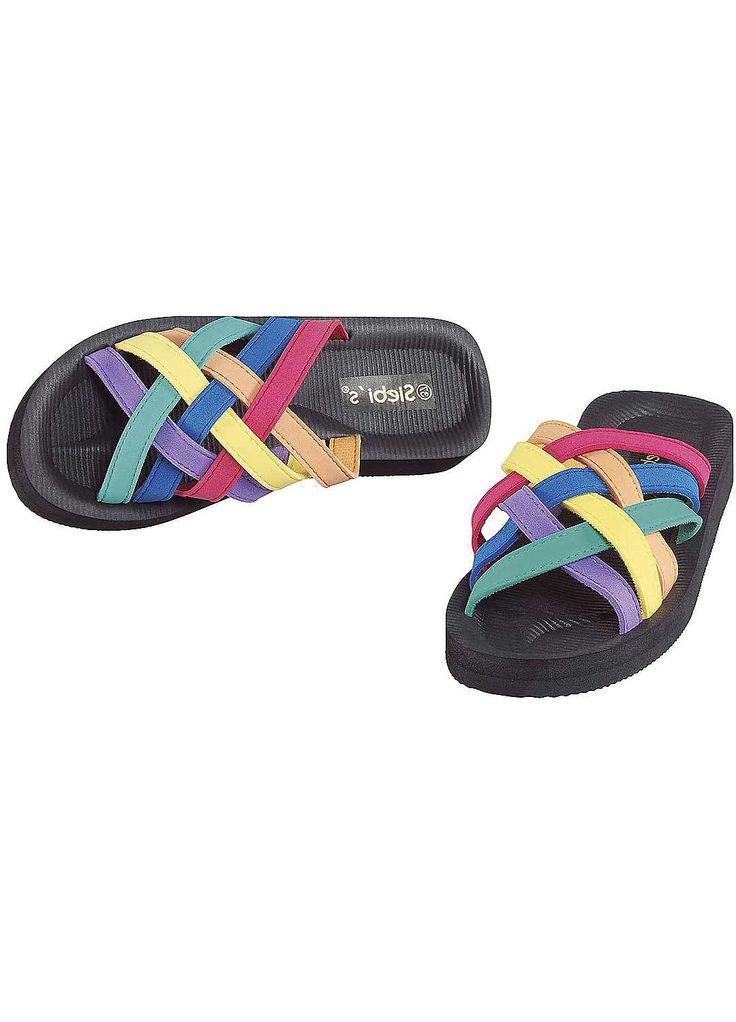 Multi-Coloured Strappy Flip-Flops