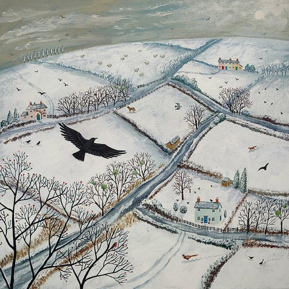 Print of English countryside in winter with flying crow from an original acrylic painting 'As the Crow Flies' by Jo Grundy