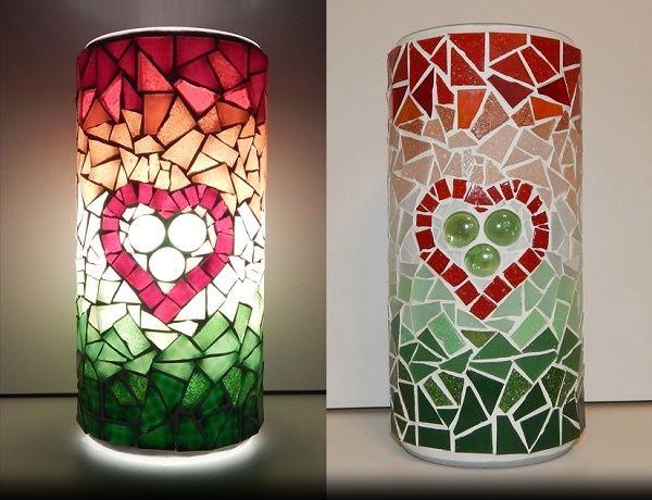 HUNGARIAN HEART MOSAIC LAMP;  made of: glass mosaic, glass nougat;  width: 11cm, height: 22cm;  price: 61 EUR / 49 GBP / 69 USD;  © Gabor Abraham mosaic art