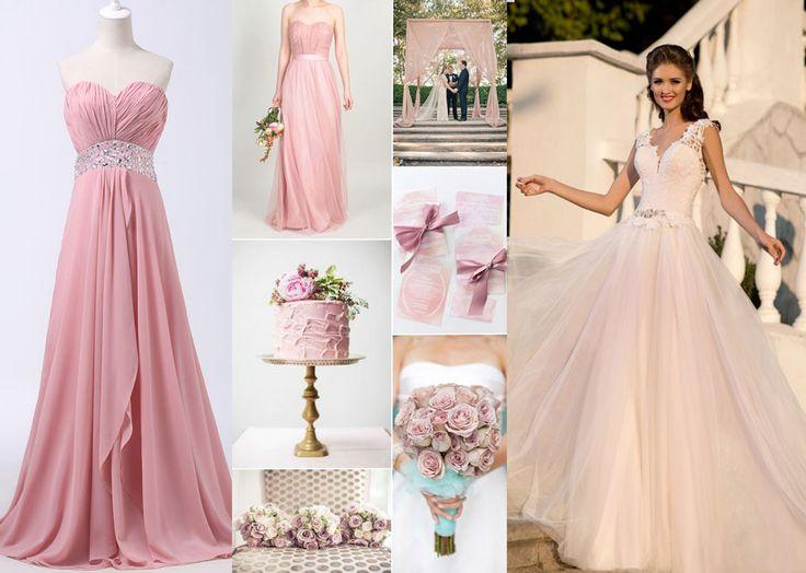 Družičkovské a svadobné šaty v staroružovej farbe