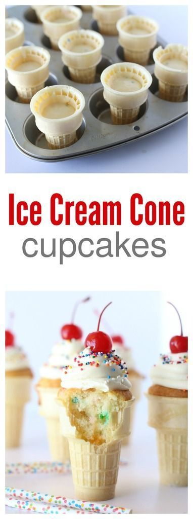FASTER: Cut up chunks of pound cake or angel  food cake, place inside of cones then top. Definitely not 'vegetarian'.
