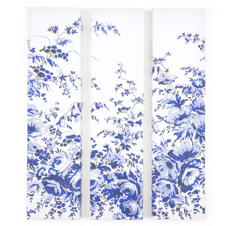 China Blue Floral Triple Canvas Wall Art #LauraAshley