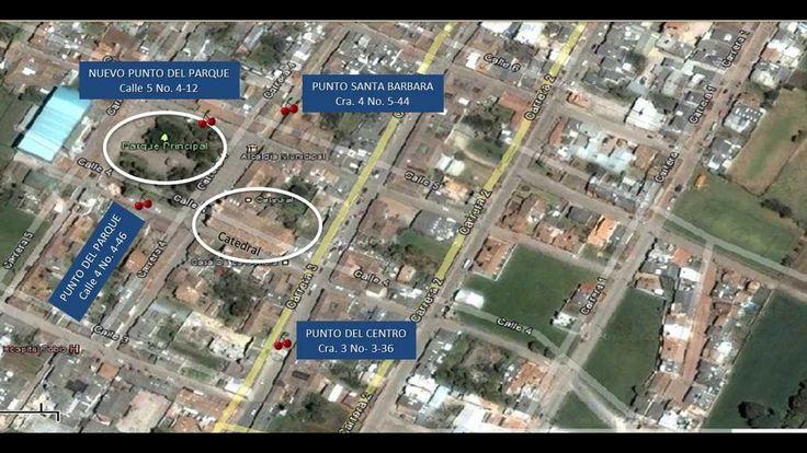 video Clip mapa animado de ritas de llegada a los puntos de venta de POSTRES ANTOJOS SANTA GEMA en Tabio, Cundinamarca.