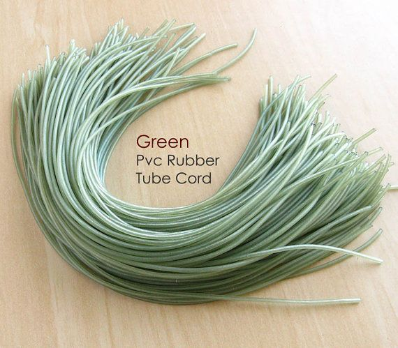 2MM Green Pvc Rubber Tube Cord hole 08mm 11 by RedAppleSupplies, €0.95