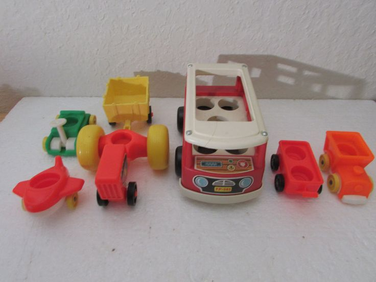 Vintage Fisher Price Little People MINI BUS, Plane, Tractor Train 7 Pieces total #FisherPrice