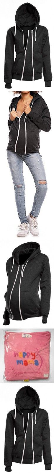 Happy Mama. Womens Maternity Warm Hoodie Zip Front Top Removable Insert. 355p (Graphite Melange, US 6/8, L)