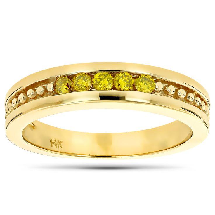 14k gold mens womens yellow diamond wedding band 5 stone anniversary ring - Yellow Diamond Wedding Ring