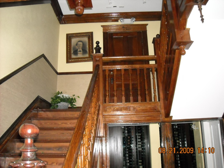 The stairs leading to the second floor