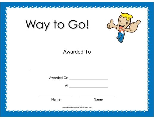 This Way to Go Certificate features a blonde-headed boy ...