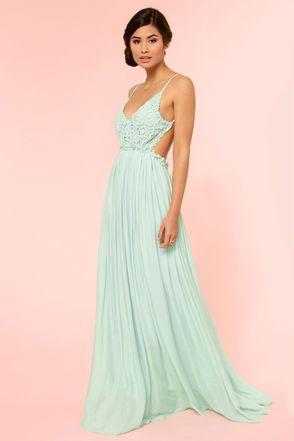 Blooming Prairie Crocheted Mint Maxi Dress