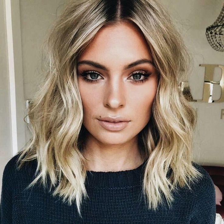 blonde lob balayage hairstyles wavy hair