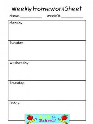 Best  Weekly Homework Sheet Ideas On   Homework Ideas