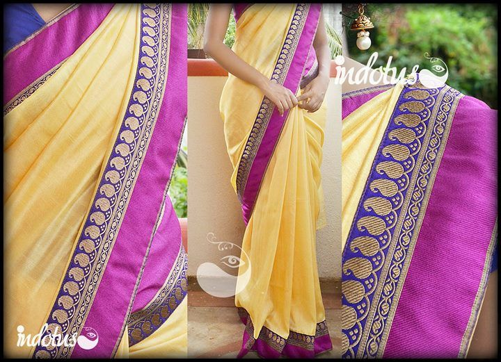 Yellowish beige kashmiri silk saree with purple and majenta pink border Blouse - Purple For order pls mail to indotus.couture@gmail.com