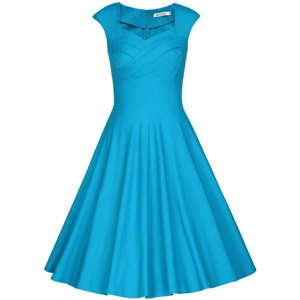 Amazon.com: MUXXN Women's 1950s Vintage Retro Capshoulder Party Swing... ($37) ❤ liked on Polyvore featuring dresses, evening dresses, blue evening dresses, blue vintage dress, vintage swing dress and vintage cocktail dresses
