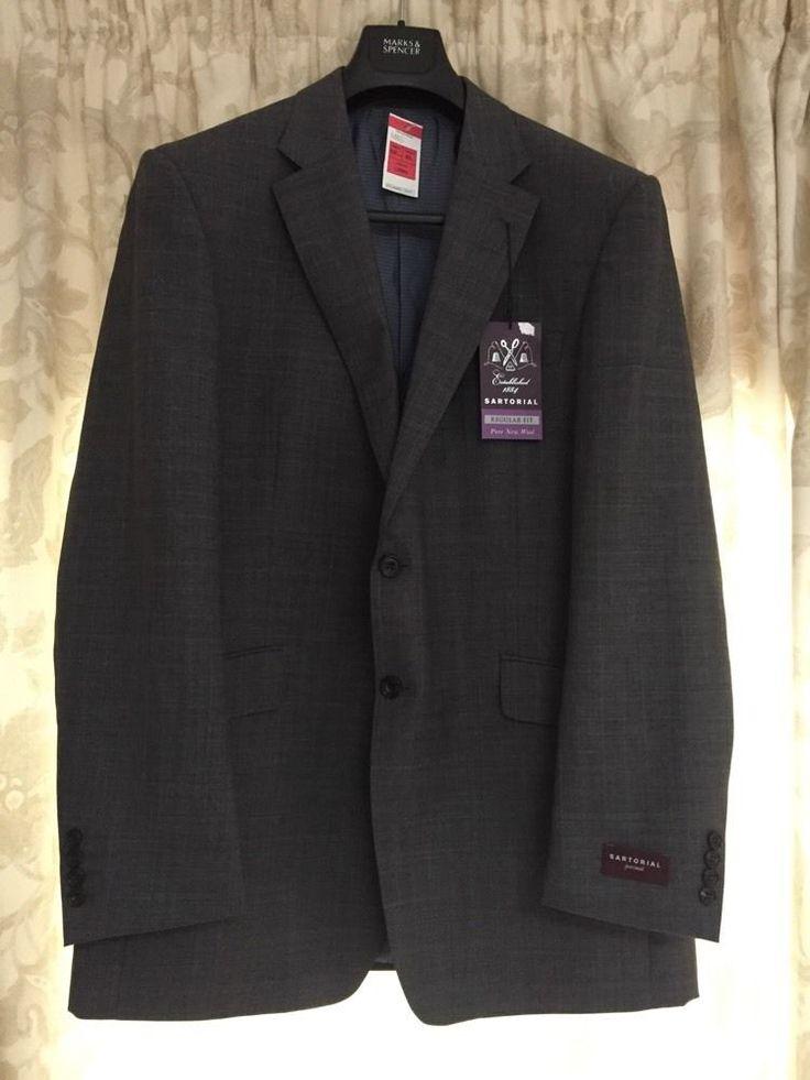 M&S SARTORIAL 100%Pure New WOOL men's jacket UK42 Long BNWT REGULAR FIT Charcoal   eBay