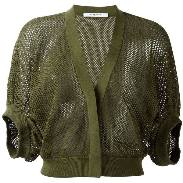 Givenchy cropped fishnet cardigan ($1,295) ❤ liked on Polyvore featuring tops, cardigans, green, cropped v neck cardigan, short tops, green v neck cardigan, v neck crop top and v-neck tops