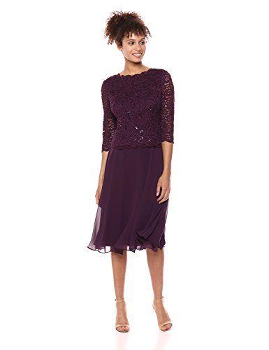 cbe02d59a67a Alex Evenings Women's Sequin Lace Mock Dress (Petite and Regular), Deep  Plum 12
