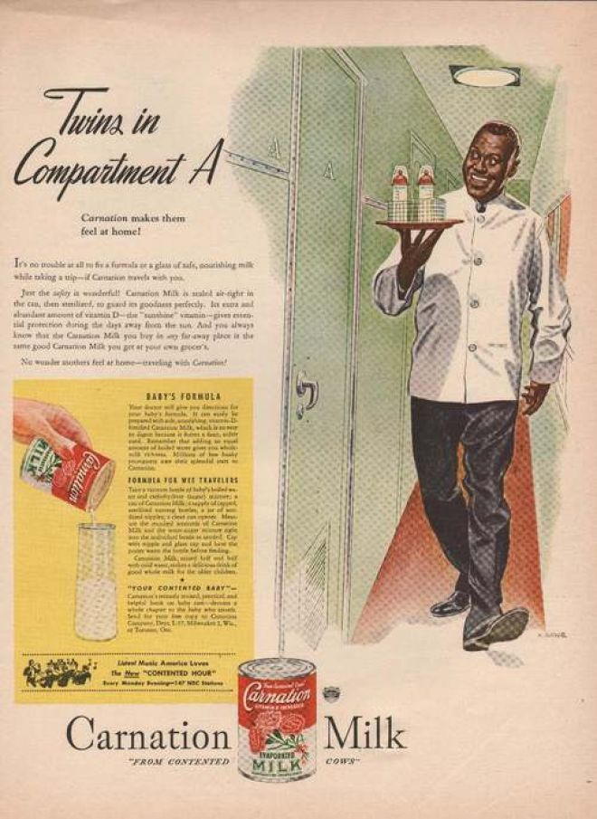 Carnation Milk Serving Baby Bottles Print (1946)  When bottle feeding formula became vogue