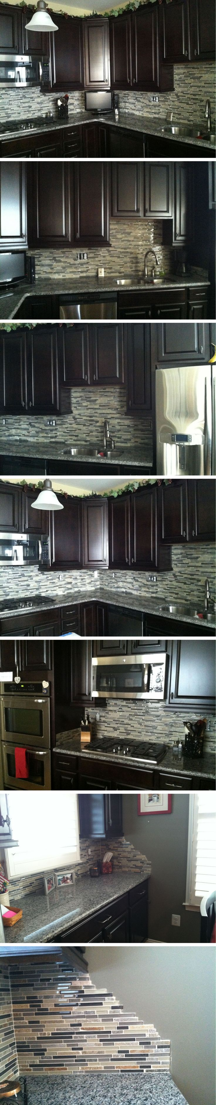 Glass stone mosaic kitchen backsplash photo marazzi pictures to pin on - Custom Kitchen Backsplash With A Glass Stone Mosaic Blend Bliss 5 8